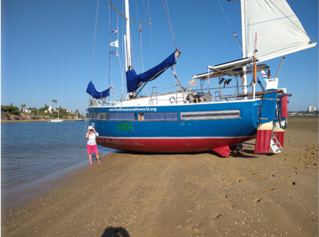 picture of sailing boat Ya dried out on the sand in Alvor Bay