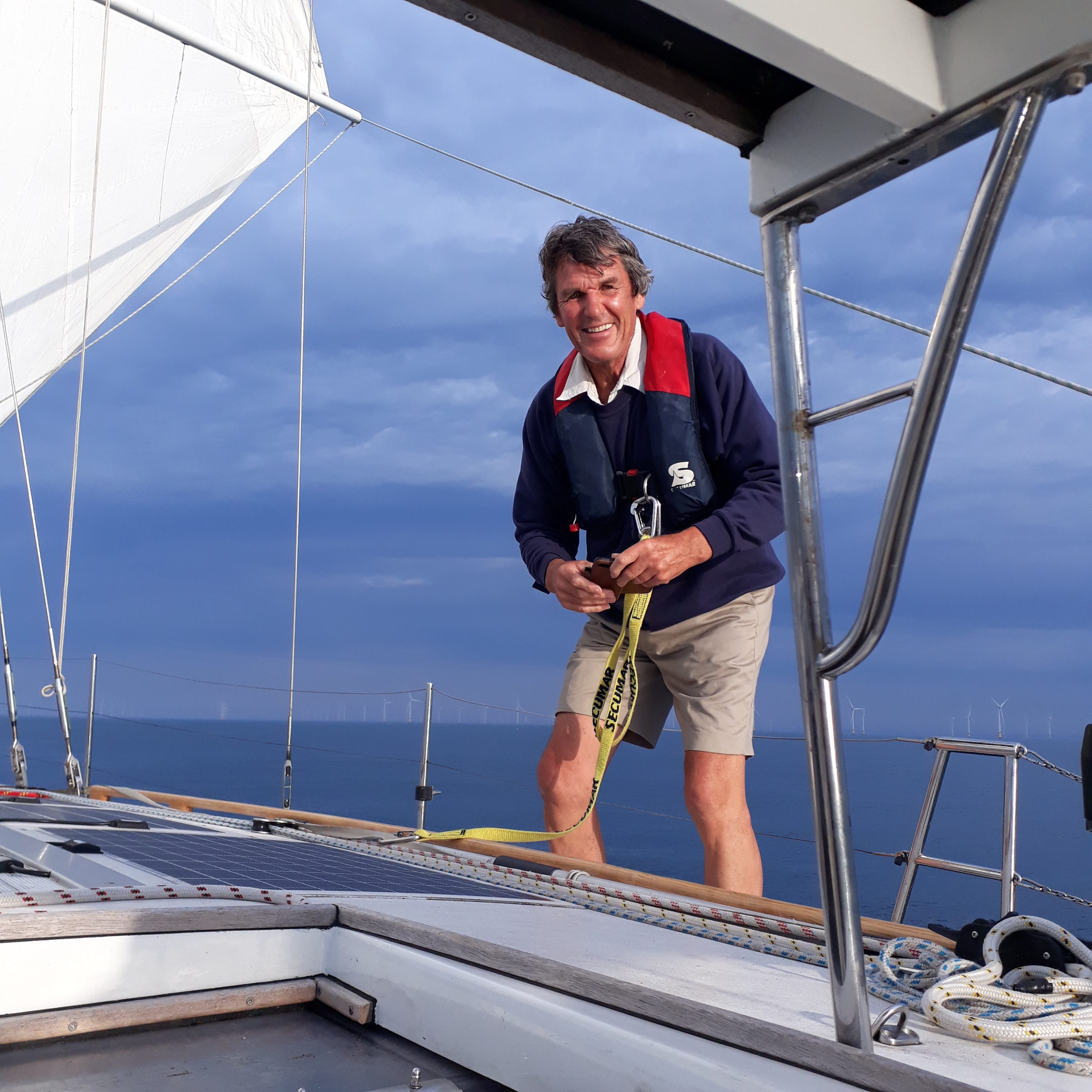 Philip Merricks on his way to take a picuture near the 'Rampion' windmilpark west of Rye