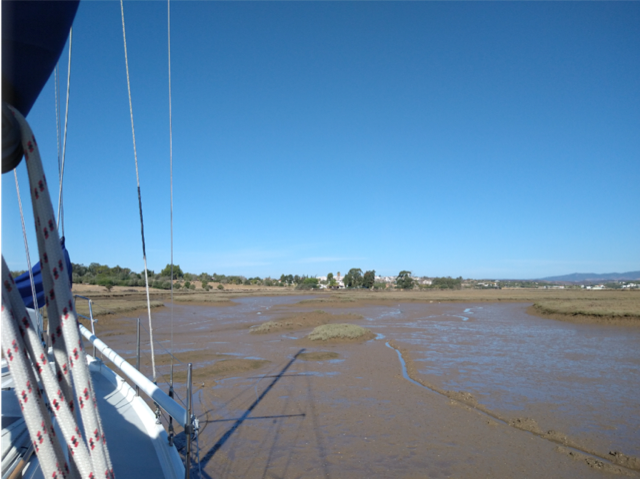 Picture of Ria Alvor at low water, showing the mudflats